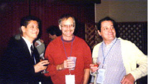Joaquim with Prof. John Head (Hawaii) and Prof. Ricardo Bicca de Alencastro (UFRJ) during a social break at the 1999 Sanibel Symposia.